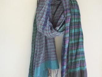手紡ぎ 手織り ストール 17の画像