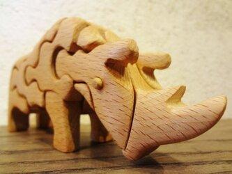 木の立体動物パズル「ani-woods」さいの画像
