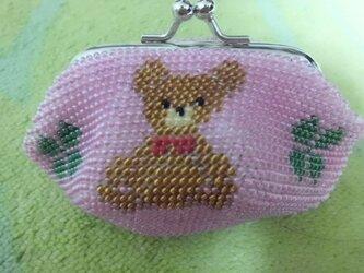 <再出品>ビーズ編みがま口財布 クマ柄の画像