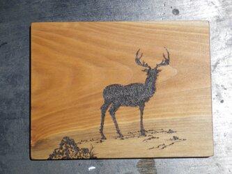 鹿 (焼き板絵)*売約済みの画像