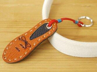 靴型のキーホルダー BR×NV #1-3 (イタリアンレザー)の画像