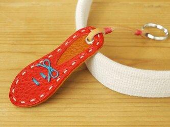 靴型のキーホルダー RD×BR #2-2 (イタリアンレザー)の画像