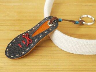 靴型のキーホルダー NV×BR #4-2 (イタリアンレザー)の画像