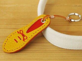 靴型のキーホルダー YL×RD #5-2 (イタリアンレザー)の画像