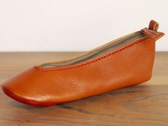 靴型ペンケース BR×RD #1-4 (イタリアンレザー)の画像