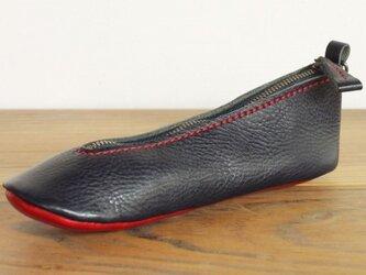 靴型ペンケース NV×RD #3-3 (イタリアンレザー)の画像