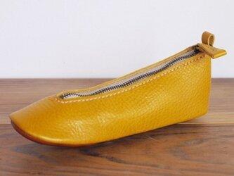 靴型ペンケース YL×BR #7-3 (イタリアンレザー)の画像