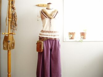 ピンク×紺ツイルちょい長丈のキュロットスカートの画像