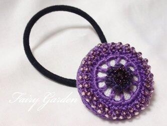 レースモチーフのヘアゴム(紫)の画像