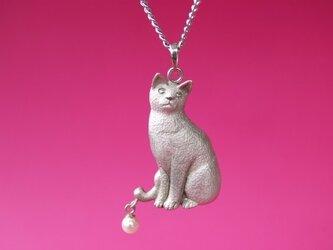シルバー猫ペンダントネックレスの画像