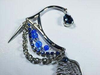 イカロスの魂 翼のイヤーフック イヤーカフ 青の画像