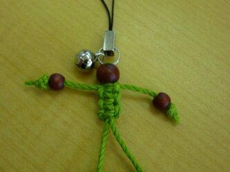 ヘンプ人形ストラップ(茶×黄緑)の画像