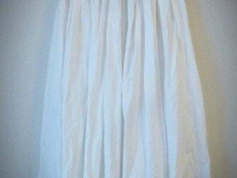リネン ギャザースカート ホワイトの画像