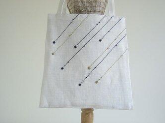 流れ星の手さげバッグ (White)の画像