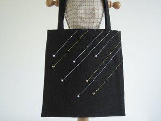 流れ星の手さげバッグ (Black)の画像