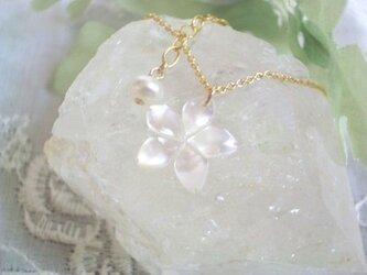【14Kgf】桜ネックレス ホワイトの画像