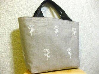 春夏 リネン刺繍トートバッグの画像