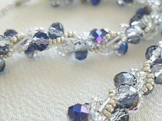 ●sold out●42cm ブルー系カットガラスのネックレスの画像