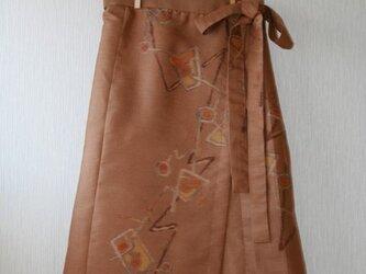 絹 黄土色  銘仙の羽織から タック巻きスカート SMサイズの画像