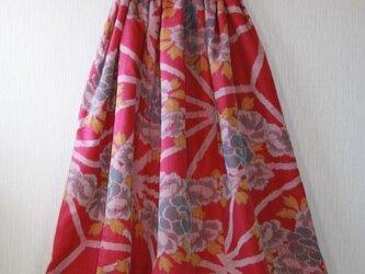 ボタニカル柄 ウール ウエストベルトのフレアスカート Mサイズの画像