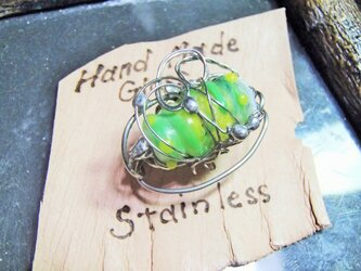 手焼きガラス/ステンレスブローチの画像