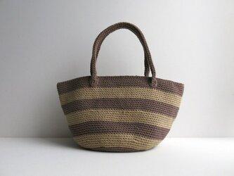 綿糸のボーダートートバッグの画像