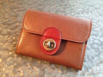 ひねり金具のミニ財布*薄茶の画像