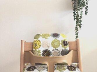 ストッケ トリップトラップ クッション 北欧花柄*緑の画像