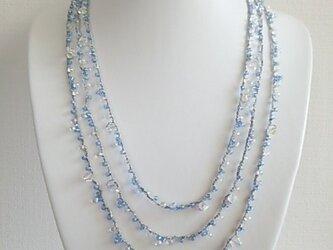 ●sold out●アイスブルー 3連ネックレス&ピアスの画像