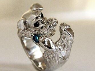 宝石を噛むシュナウザーリング【送料無料】宝石をかじるシュナウザーの指輪です。の画像