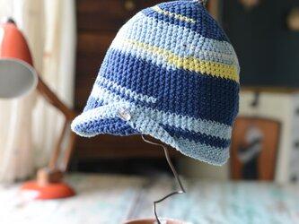 しましまのコットン帽子の画像