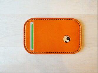 【選べるステッチ】 Suica パスケース オレンジ【名入れ可】の画像