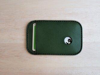 【選べるステッチ】 Suica パスケース 緑 【名入れ可】の画像