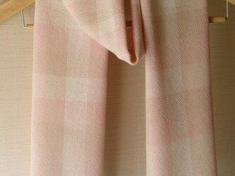 手織り・シルクコットン・チェックストールの画像