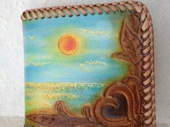 レザー二つ折り財布~遠い日の海辺の画像