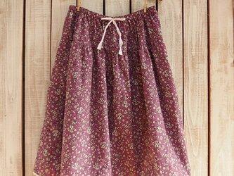 2段ティアードスカート(No.04/紫地白小花)の画像