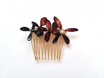 髪飾り*sepia flower color コームの画像