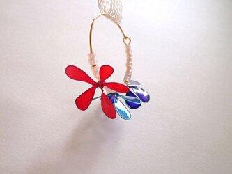 耳飾り*blooming color flower フープピアスの画像