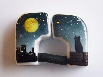 壁掛用磁気式リングホルダー(満月と猫・緑)の画像