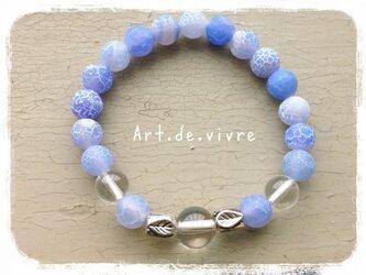 シャーベットブルーの天然石ブレスの画像