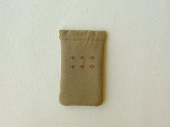 sale! 植物刺しゅうのバネポーチ(マルチケース・小麦色)の画像