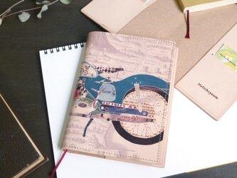 文庫本ブックカバー(レトロバイク)牛革 ILL-1103の画像