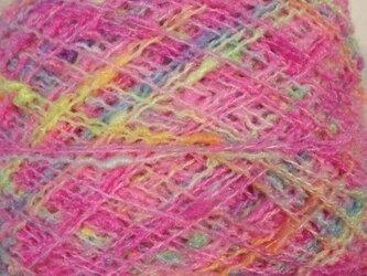 手染め糸 ぽちぽちノット ピンク系 418⑬ 82gの画像
