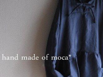 【受注製作/6.18再販売】W50長袖前ヒモリボンフード付きリネンワンピース★インディゴの画像