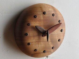 手作り木製時計 12cmの画像