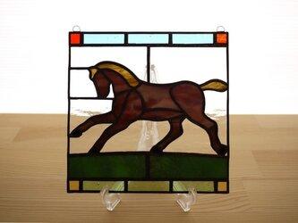 ステンドグラス ミニパネル 馬 15cmの画像