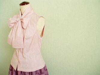 sold 大きめリボンボウカラーブラウス&タックギャザースカートの画像
