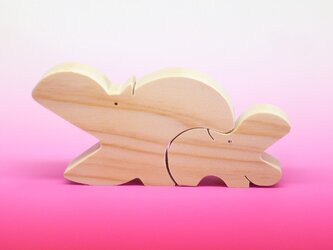送料無料 木のおもちゃ 動物組み木 カバの親子の画像