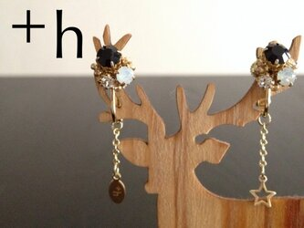 【イヤリング】Gem earrings BKの画像