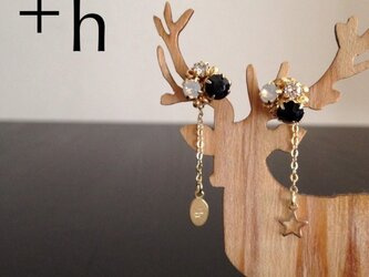 再販【ピアス】Gem pierced earrings BKの画像